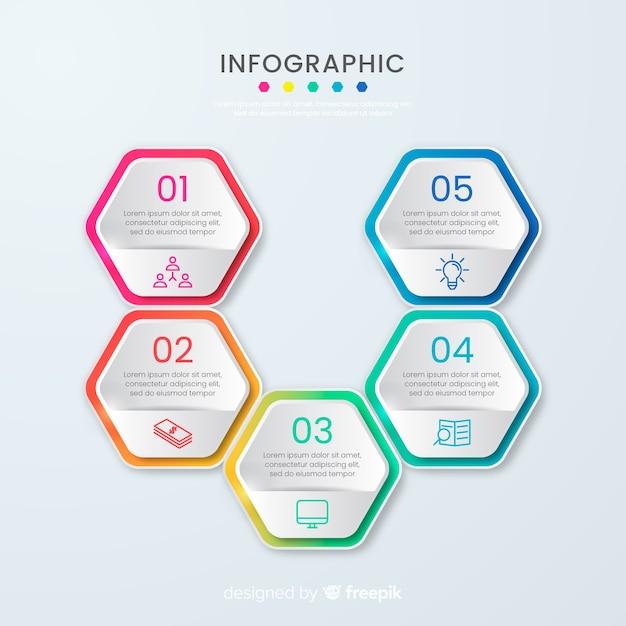 Modèle d'infographie en nid d'abeille de présentation entreprise Vecteur gratuit