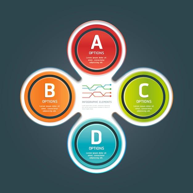 Modèle d'infographie nombre d'options colorées. Vecteur Premium