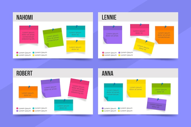 Modèle D'infographie De Panneaux De Notes Autocollantes Design Plat Vecteur gratuit