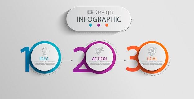 Modèle d'infographie en papier Vecteur Premium