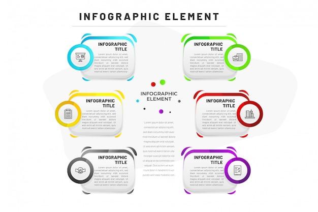 Modèle d'infographie plat pour entreprise, site web, présentation avec icône Vecteur Premium