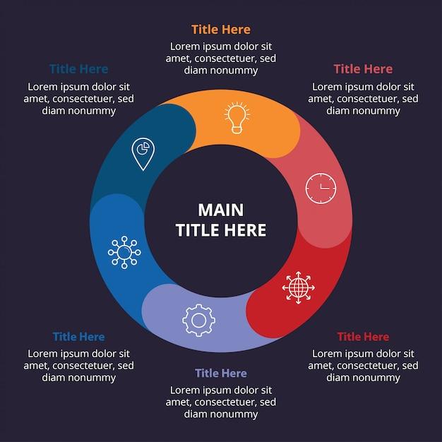 Modèle d'infographie plat sombre avec composition de cercle Vecteur Premium