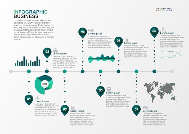 Modèle d'infographie pour l'entreprise 8 options dans le concept de transport Vecteur Premium