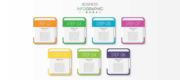 Modèle d'infographie de présentation avec 7 options ou étapes Vecteur Premium