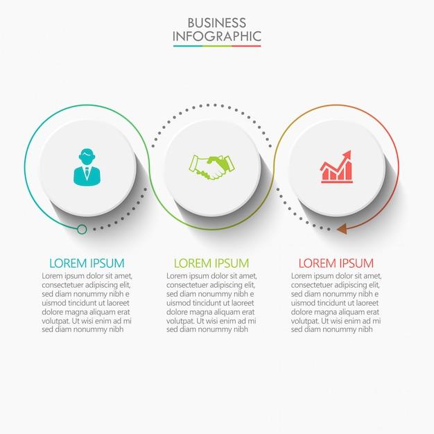 Modèle d'infographie de présentation entreprise avec 3 options. Vecteur Premium