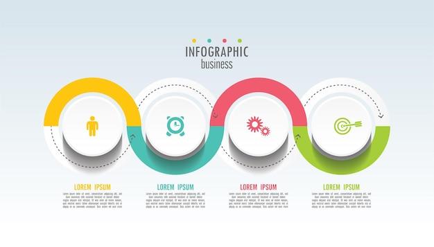 Modèle D'infographie De Présentation Entreprise Avec 4 étapes Vecteur Premium