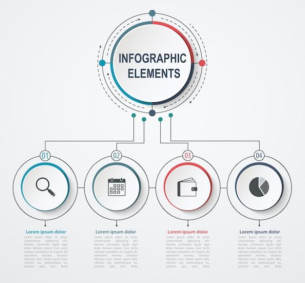 Modèle d'infographie de présentation entreprise avec 4 options. concept d'entreprise avec des cercles intégrés. Vecteur Premium