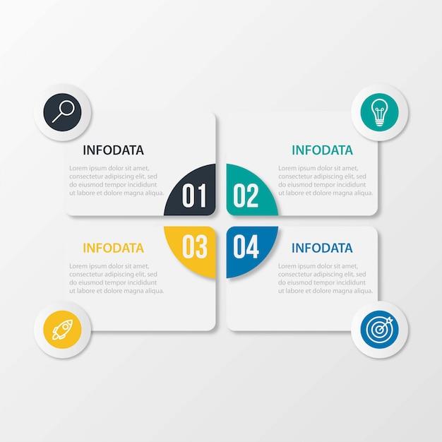 Modèle D'infographie De Présentation D'entreprise Avec 4 Options Vecteur Premium