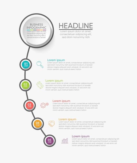 Modèle d'infographie de présentation entreprise avec 5 options. Vecteur Premium
