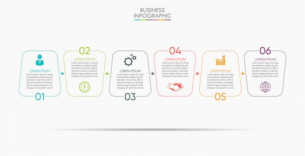 Modèle D'infographie De Présentation Entreprise Avec 6 Options. Vecteur Premium