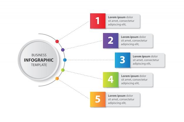Modèle D'infographie De Présentation Entreprise Avec Le Vecteur 5 étapes Vecteur Premium