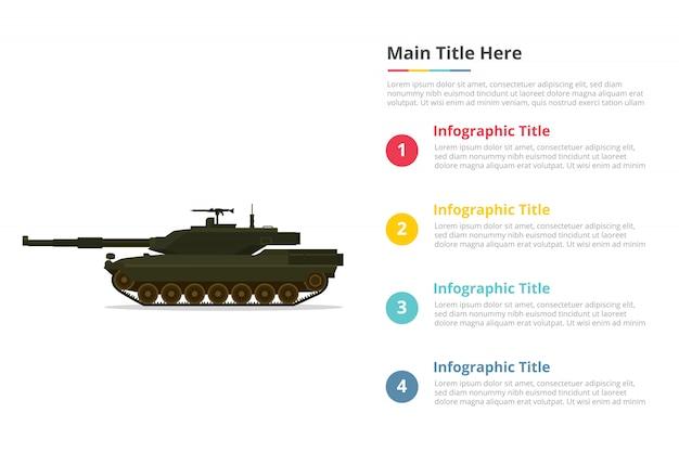 Modèle d'infographie principale bataille de chars avec quatre points Vecteur Premium