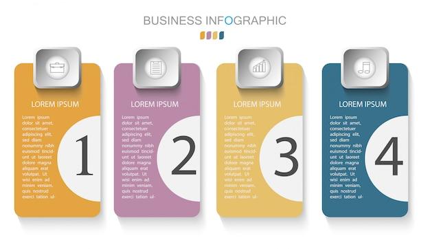 Modèle d'infographie avec quatre étapes ou options Vecteur Premium