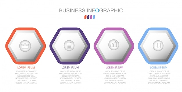 Modèle d'infographie en quatre étapes Vecteur Premium