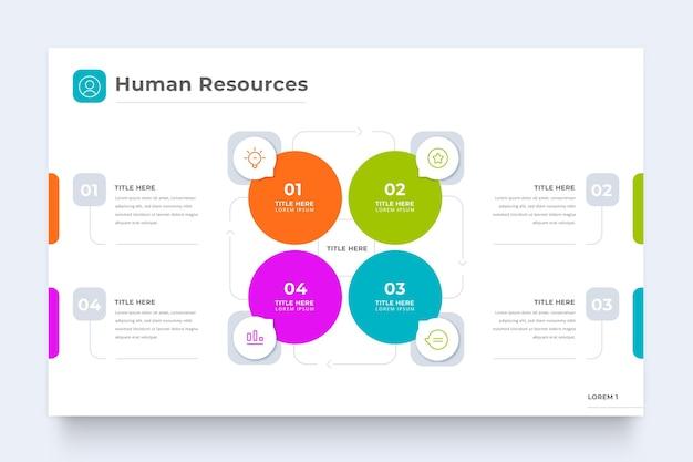 Modèle D'infographie Des Ressources Humaines Avec Des Cercles Vecteur Premium