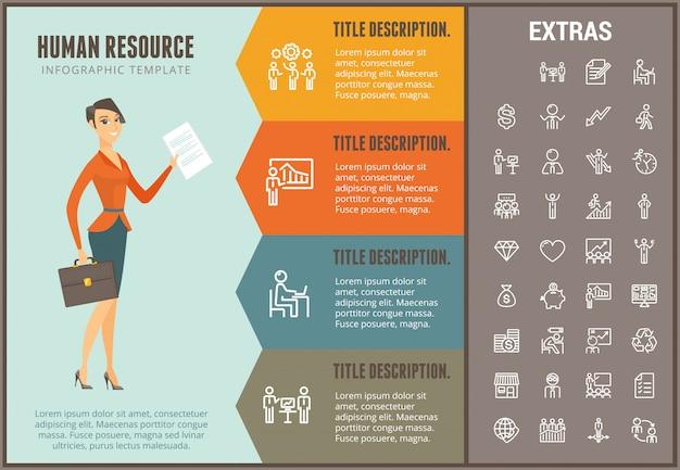 Modèle d'infographie de ressources humaines et éléments Vecteur Premium