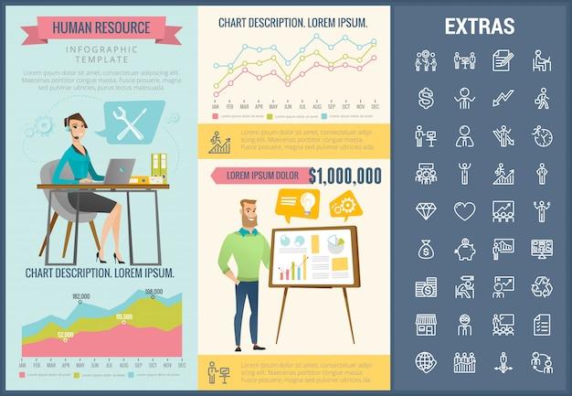 Modèle d'infographie de ressources humaines et ensemble d'icônes Vecteur Premium