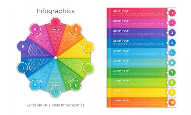 Modèle d'infographie de roue colorée Vecteur Premium
