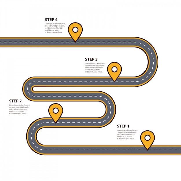Modèle D'infographie Route Sinueuse Avec Des Montagnes Et Des Pointeurs Vecteur Premium