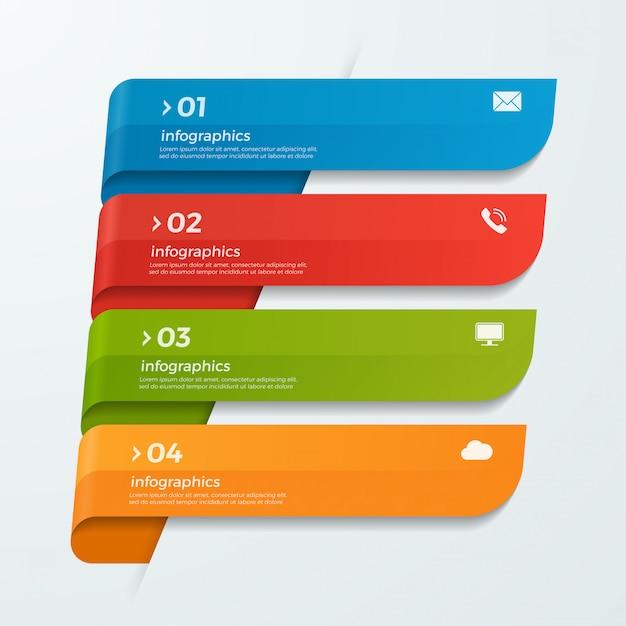 Modèle d'infographie avec rubans bannières de flèches 4 options Vecteur Premium