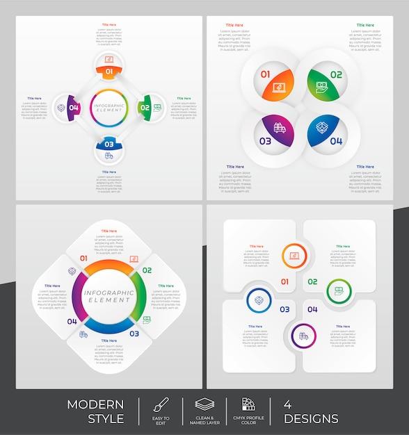Modèle d'infographie sertie de style moderne et concept coloré Vecteur Premium