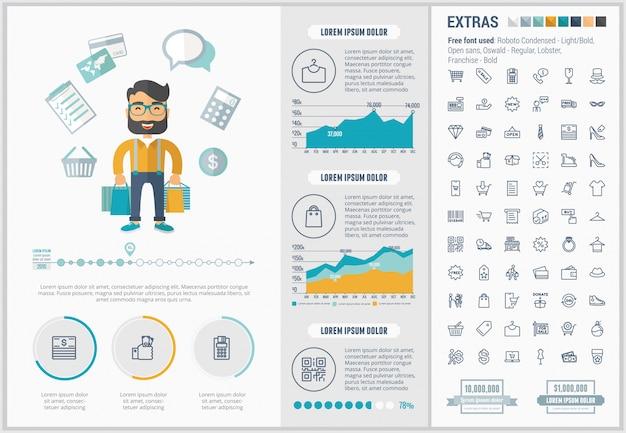 Modèle d'infographie shopping design plat et ensemble d'icônes Vecteur Premium
