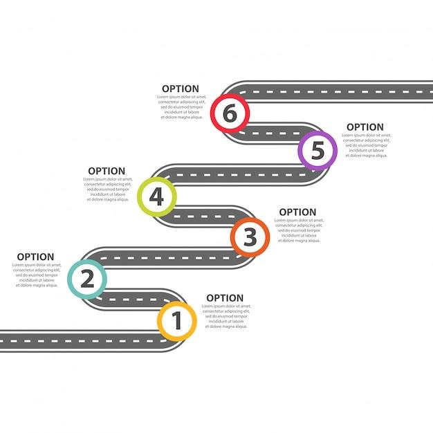 Modèle D'infographie. Six étapes Zigzaguent Sur La Route Goudronnée. Vecteur Premium