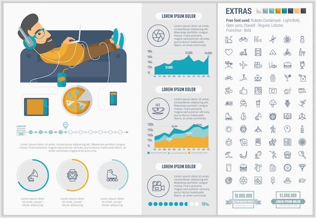 Modèle D'infographie De Style De Vie Design Plat Et Ensemble D'icônes Vecteur Premium