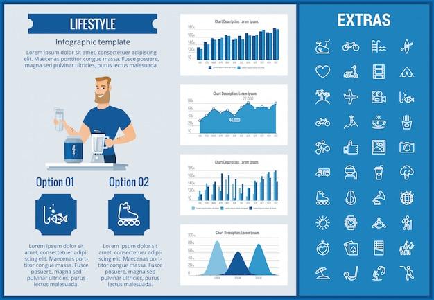 Modèle D'infographie De Style De Vie, Des éléments Et Des Icônes Vecteur Premium