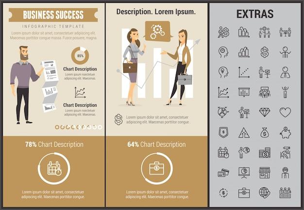 Modèle d'infographie de succès commercial et éléments Vecteur Premium