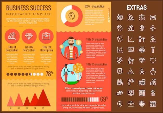 Modèle d'infographie de succès commerciaux et icônes Vecteur Premium