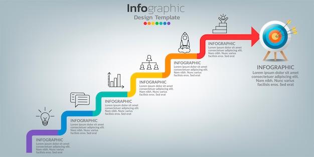 Modèle D'infographie De Succès Avec La Construction De L'escalier. Vecteur Premium