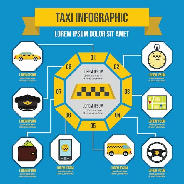 Modèle d'infographie de taxi, style plat Vecteur Premium