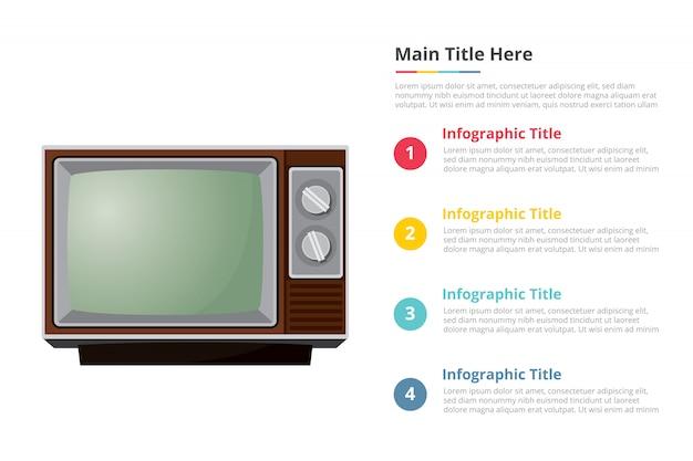 Modèle d'infographie télévision télévision vintage avec quatre points Vecteur Premium