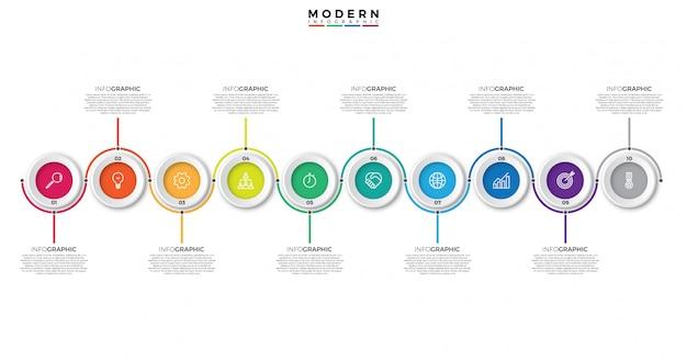 Modèle d'infographie timeline avec cercles Vecteur Premium