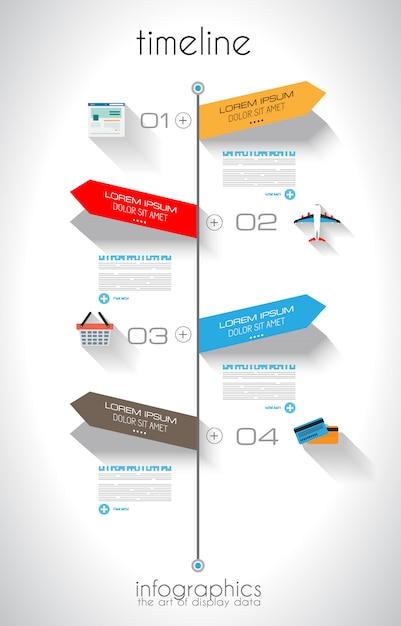 Modèle d'infographie timeline avec des étiquettes en papier Vecteur Premium
