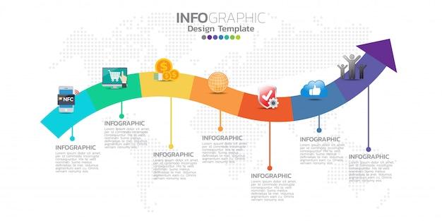 Modèle d'infographie timeline avec des flèches Vecteur Premium