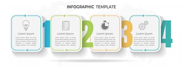 Modèle d'infographie de la timeline minimale 4 options ou étapes. Vecteur Premium
