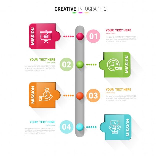 Modèle d'infographie timeline, modèle de conception de vecteur timbre infographie Vecteur Premium
