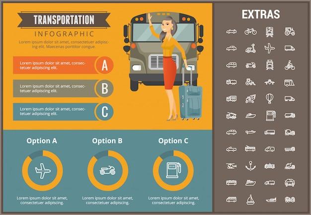 Modèle d'infographie de transport et éléments Vecteur Premium