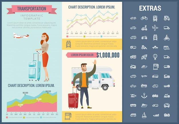 Modèle d'infographie de transport et jeu d'icônes Vecteur Premium
