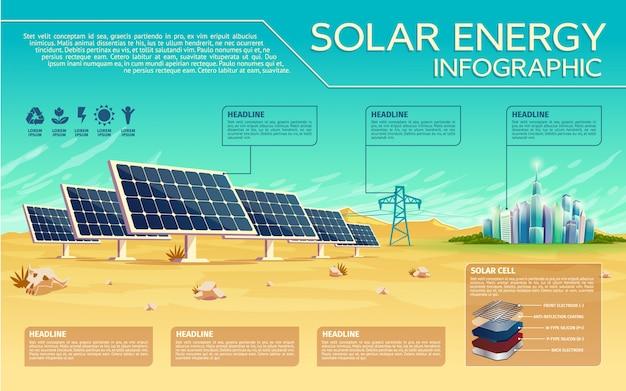 Modèle d'infographie de vecteur énergie solaire vector Vecteur Premium