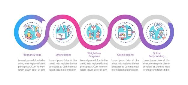 Modèle D'infographie De Vecteur De Programmes D'exercice. Visualisation Des Données En 5 étapes. Vecteur Premium