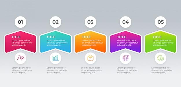 Modèle d'infographie vectorielle avec cinq étapes d'options Vecteur Premium
