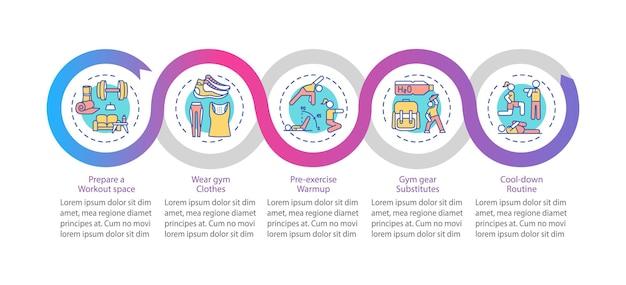 Modèle D'infographie Vectorielle De Conseils D'exercice à Domicile. Visualisation Des Données En 5 étapes. Vecteur Premium