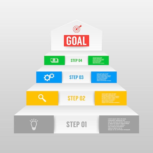 Modèle d'infographie vectorielle avec quatre options. Vecteur Premium