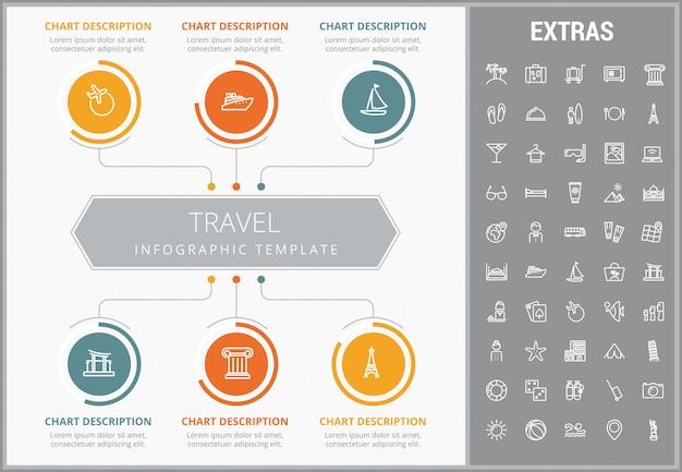 Modèle d'infographie de voyage, des éléments et des icônes Vecteur Premium