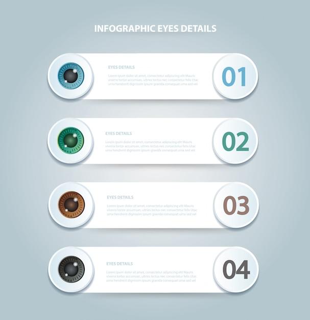 Modèle d'infographie des yeux avec 4 options Vecteur Premium