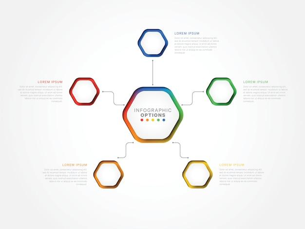 Modèle infographique 3d de cinq étapes avec des éléments hexagonaux. modèle de processus métier avec option Vecteur Premium
