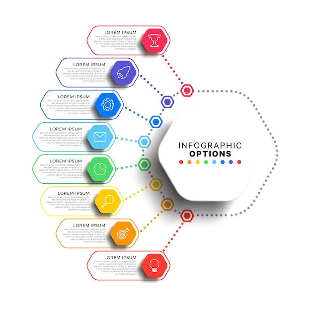 Modèle Infographique En 8 étapes Avec Des éléments Hexagonaux Réalistes Sur Blanc Vecteur Premium